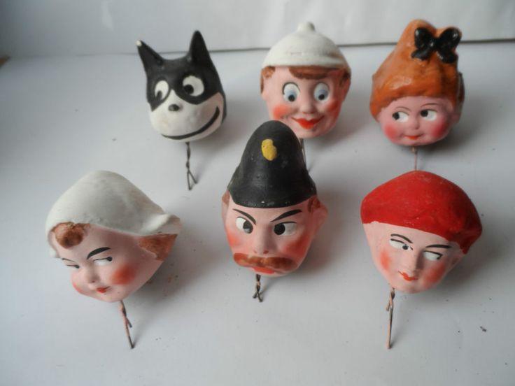 14368 6 KasperlePuppen Köpfe Pappmache 1920 judy and punch puppets heads mache