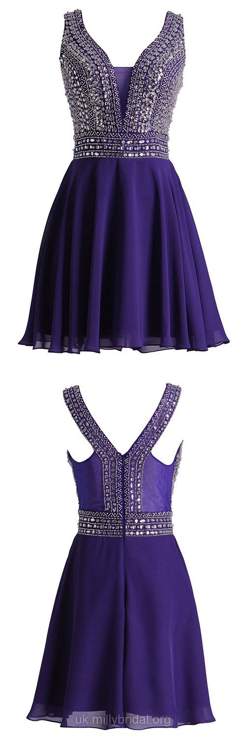 Short Prom Dresses Purple, 2018 Prom Dresses For Teens Cheap, A-line Prom Dresses V-neck, Chiffon Cocktail Party Dresses Beading Beautiful