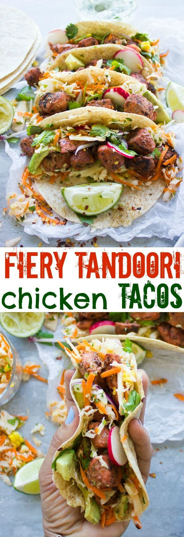 Fiery Tandoori Chicken Tacos with Cilantro Corn Slaw. This is a crazy delicious twist which combines the best of both worlds--succulent tender fiery tandoori chicken pieces on a bed of zesty cilantro corn slaw, topped with radishes, avocados and yogurt sauce, all wrapped in a taco! This recipe is a REAL crowd pleaser in a flash! make it now! http://www.twopurplefigs.com