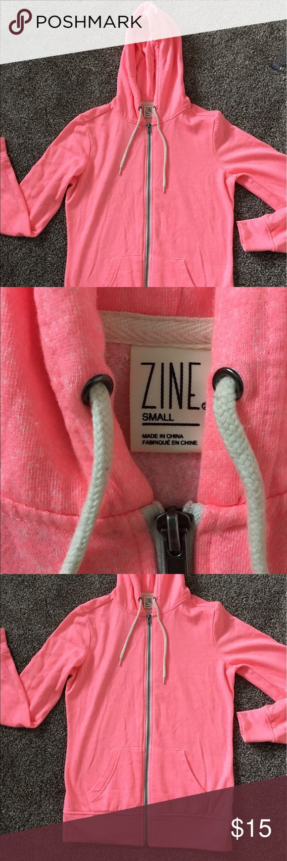 Zumiez Zip Up Hoodie Selling this bright pink zip up hoodie I got from zumiez. The brand is zine. Great quality zip up and in brand new condition. Size small! Zine Clothing Jackets & Coats