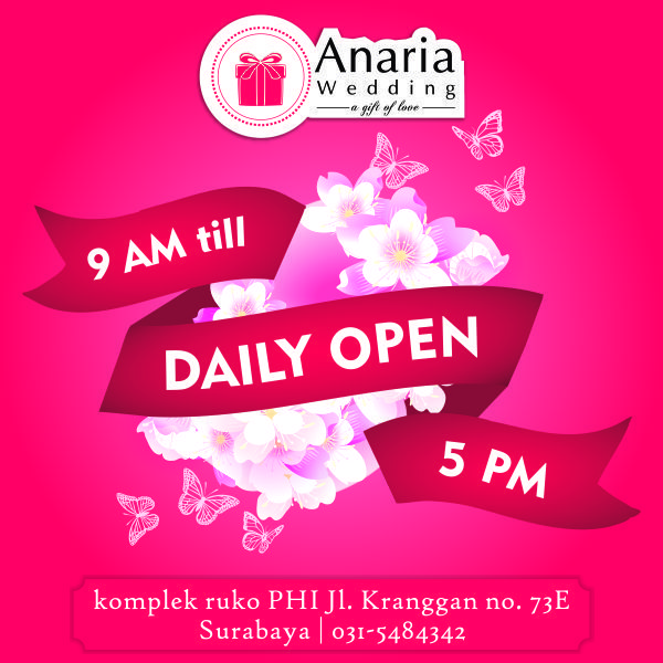 We're open everyday. Visit Us now. Komplek Ruko PHI, Jl Kranggan no 73E Surabaya. #anariawedding #souvenirsurabaya #maharsurabaya #hantaransurabaya #seserahansurabaya