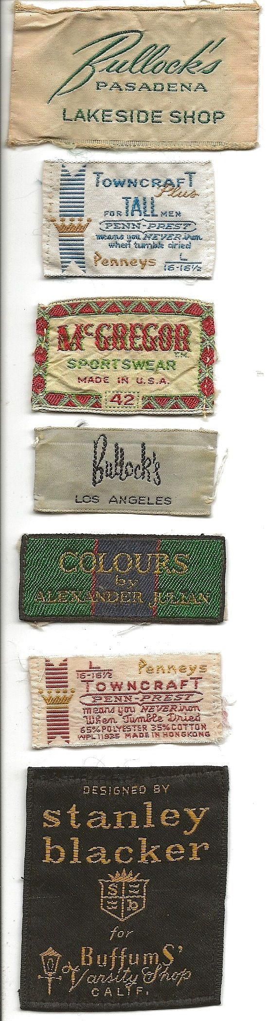 Vintage Mens Clothing Labels. DSMc.