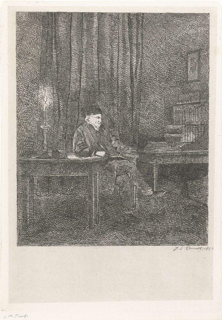 Jacobus Ludovicus Cornet | Portret van Humbert de Superville, Jacobus Ludovicus Cornet, 1851 | Portret van David Pierre Giottino Humbert de Superville, een kunstenaar en kunstverzamelaar. Humbert de Superville zit aan zijn bureau . De kamer wordt slechts verlicht door een kaars.