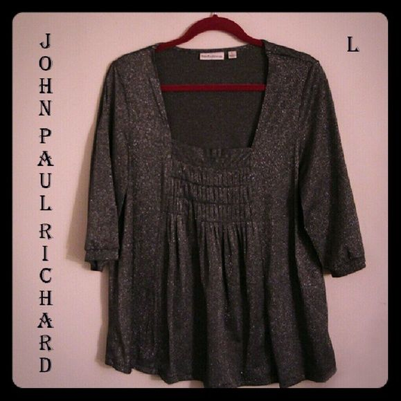 Redcd add'l 20% Silvery smock top, 3-Qtr slvs JOHN PAUL RICHARD 3/4 sleeve silver smock top in Poly-Nylon-Rayon-Metallic-Spandex knit. Dressy and Sassy!  In EUC, from SFPF home  ***BUNDLE 2 OR MORE FOR ADD'L 15% DISCOUNT*** John Paul Richard Tops