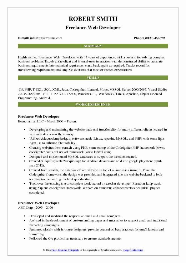Web Developer Resume Sample Luxury Freelance Web Developer Resume Samples Teacher Resume Examples Business Analyst Resume Resume Examples
