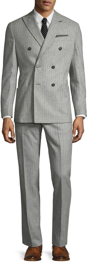 Michael Bastian Gray Label Men's Wool Pinstripe Double Breasted Suit