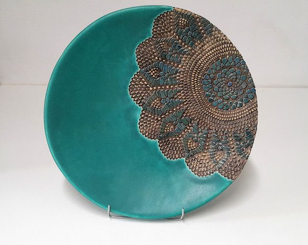 Teller - Türkis Keramikplatte , eine große Plateau - ein Designerstück von HT-Ceram bei DaWanda