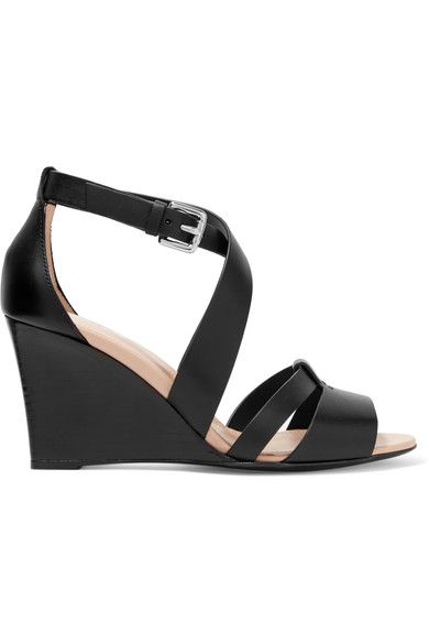 Wedge heel measures approximately 80mm/ 3 inches Black leather Buckle-fastening ankle strap Made in Italy