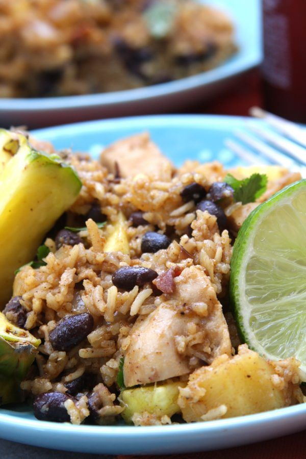 Caribbean Chicken & Rice recipe has sweet pineapple, savory bacon, satisfying black beans and the spices of the Caribbean.