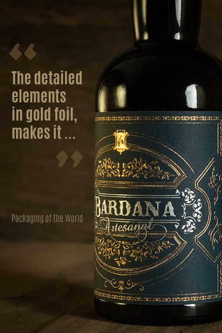Label design for 'Bardana' Craft Beer comes off as luxurious and stylish, appreciated by craft beer lovers who want something special. 'Packaging of the World' has written an article about this craft beer label design for you to find out more.