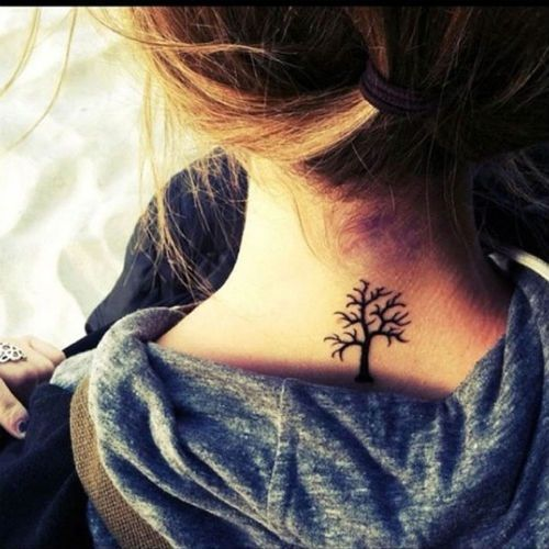 """Tree tattoo with family branches  I see this as the tree of """"LIFE"""". Every lesson learned allows the roots to become stronger & dig deeper within the earth, thus giving the tree strength to withstand the elements from above."""
