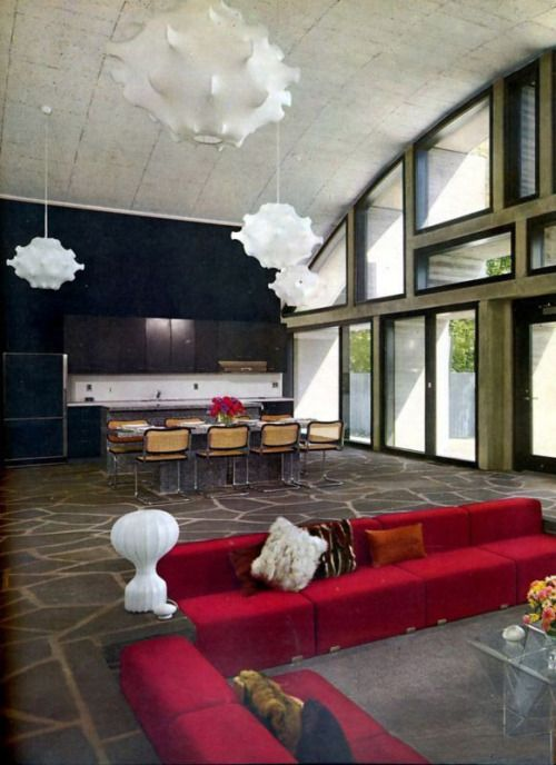 1971 Living Room And KitchenI Like A Sunken Its Retro Cozy Hiding Place