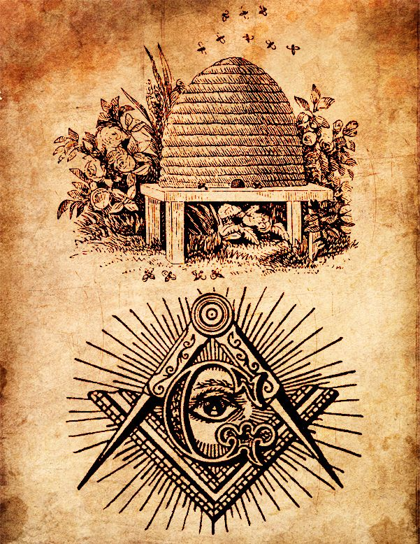 """The beehive has been adopted by Freemasonry as the appropriate emblem of industry, a virtue taught which says that a Master Mason """"works that he may receive wages, the better to support himself and family, and contribute to the relief of worthy, distressed Brother Master Masons, their widows and orphans."""" Very bee-like, indeed."""