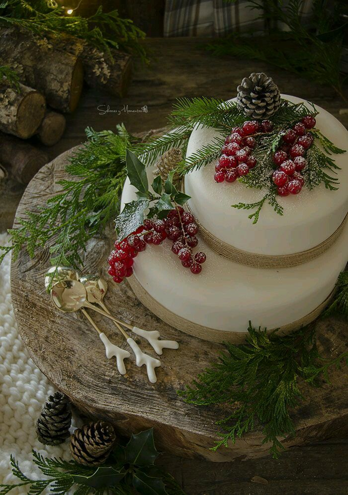 Christmas 4U rustic woodland food display. Cake or cheese wheel
