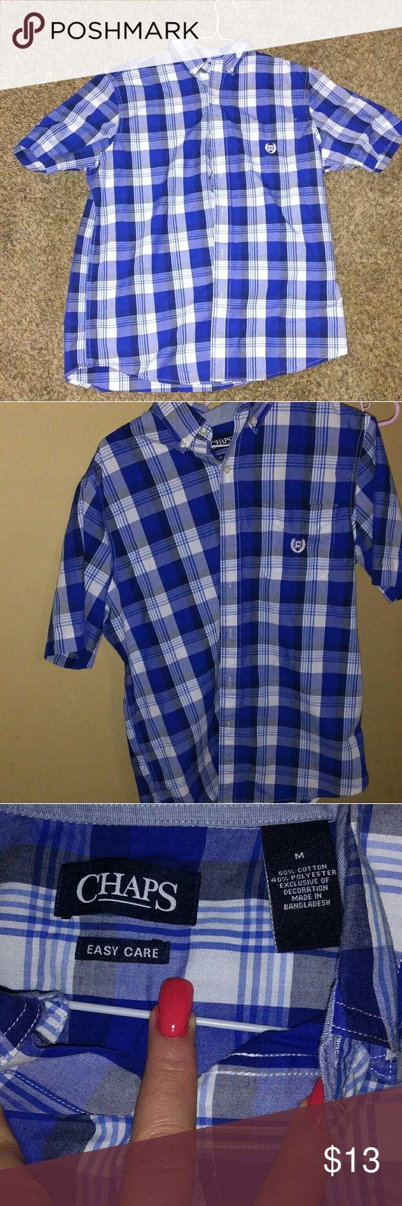 Men's Chaps button up Short sleeve. Blue plaid. Excellent Condition. Chaps Shirts