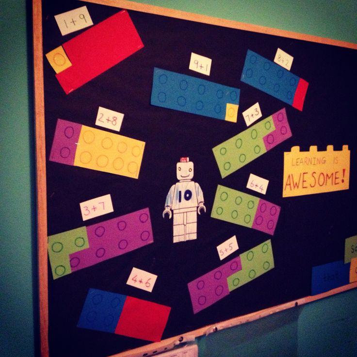 Classroom Board Decor ~ Number bond to ten lego display matikka legot