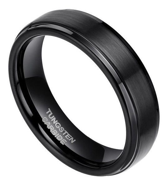 6mm Black Brushed Tungsten Ring With polished Edges