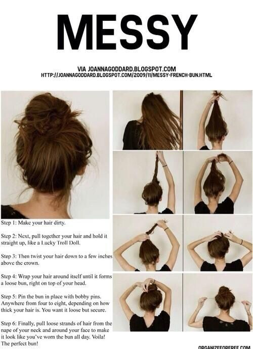Messy bun---i love how there is a tutorial for a freakin messy bun...like what? hahaha whatevs.