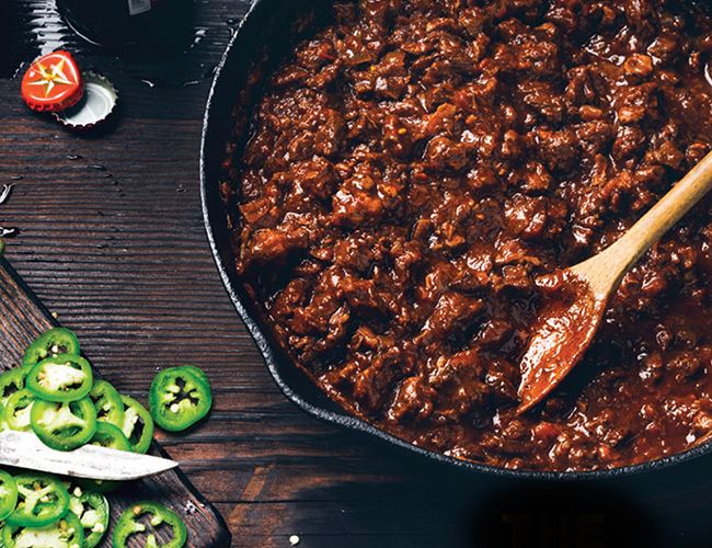 El Real's Chili con Carne Recipe Main Dishes with cumin seed, bacon, chuck, onions, chili powder, sweet paprika, Mexican oregano, ground black pepper, dried thyme, salt, garlic, beef broth, tomatoes, ancho chile pepper, ancho chile pepper, cumin seed, Mexican oregano, garlic powder