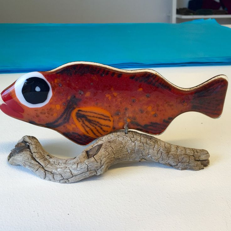 Fused glass - redfish mounted on driftwood