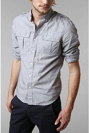 UrbanOutfitters.com > All-Son Mini Pinstripe Military Shirt