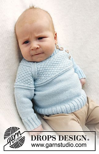 """b21-15 """"McDreamy"""" Jumper with textured pattern and raglan sleeve in """"Baby Merino"""" by DROPS design"""