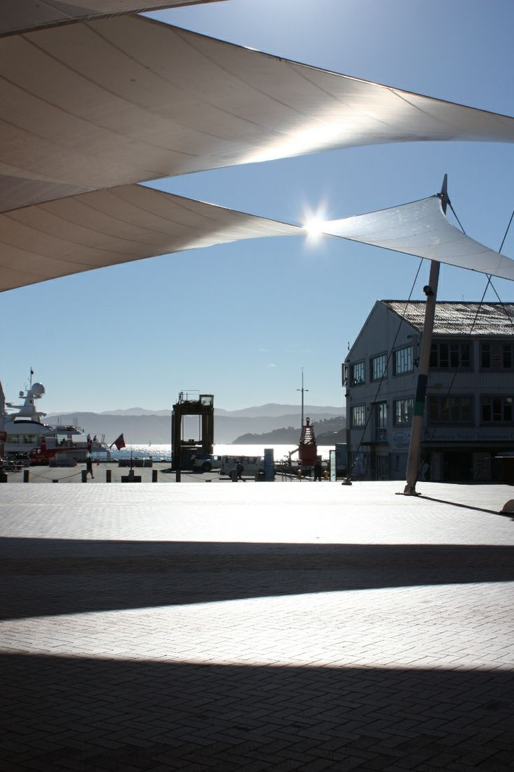 The sails of Queens Wharf on a crisp summer morning.