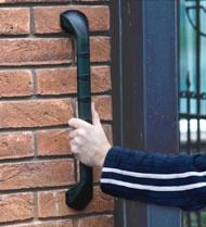 Outdoor Entryway Grab Bar  This elegant, discreet grab bar comes in a dark color and can be used inside or outside. Pinned by ottoolkit.com your source for geriatric occupational therapy resources.