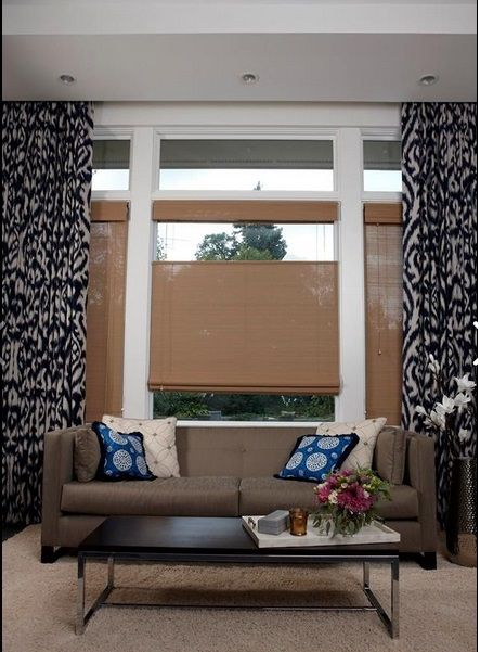 Inspired Drapes and Top Down/Bottom Up Woven Wood Shades by Budget Blinds of Swift Current, Saskatchewan