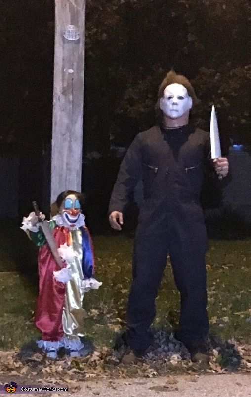 Linda: Father and son Michael Myers. My husband wanted to be Michael Myers and I came up with the idea to have someone make my son the younger version.