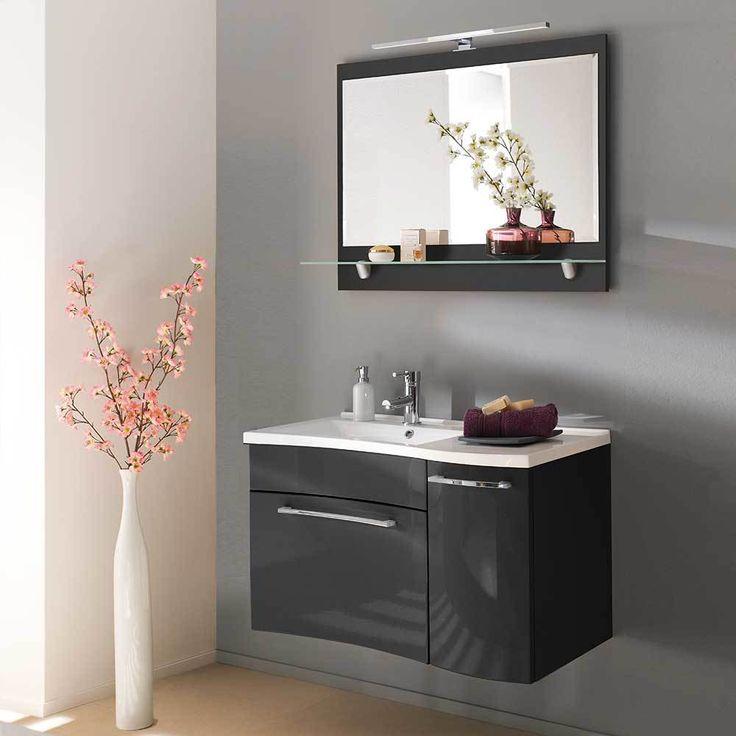 Design Badezimmermöbel in Anthrazit Hochglanz modern (2-teilig - moderne badezimmermbel