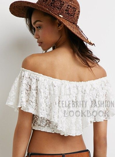 Lace Off Shoulder Crop Top - US$26.99  Free shipping worldwide  #fashion #lace #croptop #white #teens #summer