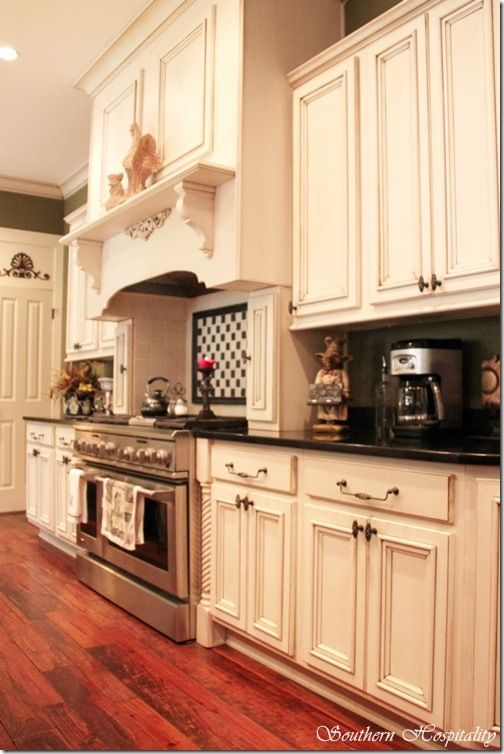 Pin by rosalie horton on english country style pinterest for Kitchen cabinets antique white