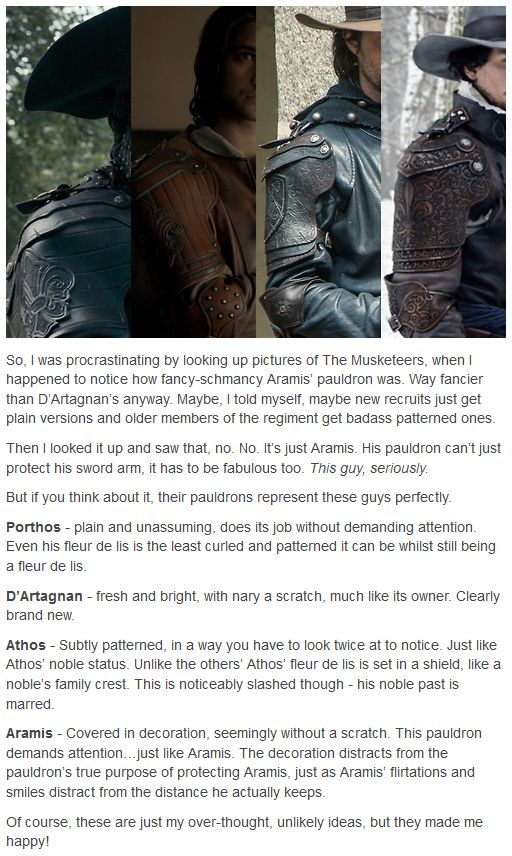 The Musketeers, headcanon fun: 'How their pauldrons represent them' (didn't know that was what those shoulder guards were called; learn something everyday I guess.)