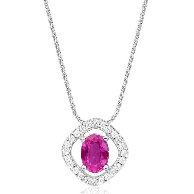 Stand out from the crowd with a natural Pink Sapphire and Diamond Pendant in 9ct Gold on Chain