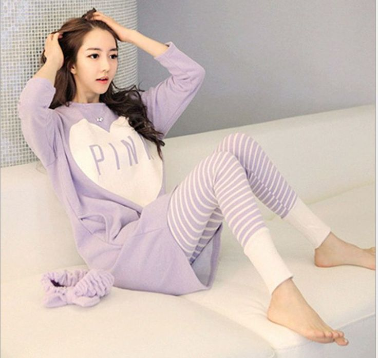 """Nieuwe 2016 Herfst/Winter Paars Womens Pajama """"ROZE"""" patroon Sets O-hals Lange Mouw Vrouwen Nachtkleding Pyjama nachtjapon voor vrouw"""