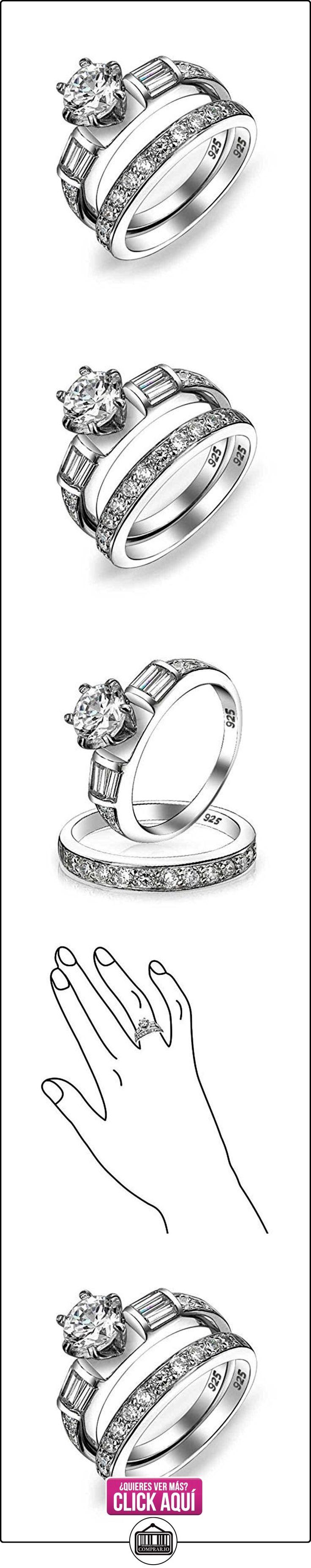 Bling Jewelry Corte Redondo Plata Esterlina Allanar Baguette Anillo de Compromiso Conjunto  ✿ Joyas para mujer - Las mejores ofertas ✿ ▬► Ver oferta: https://comprar.io/goto/B004KNIMUI