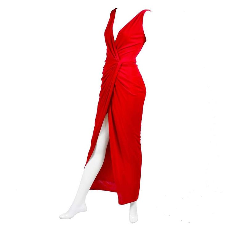 1990s Randolph Duke Red Dress Draped Body Hugging Jersey Vintage Evening Gown 1