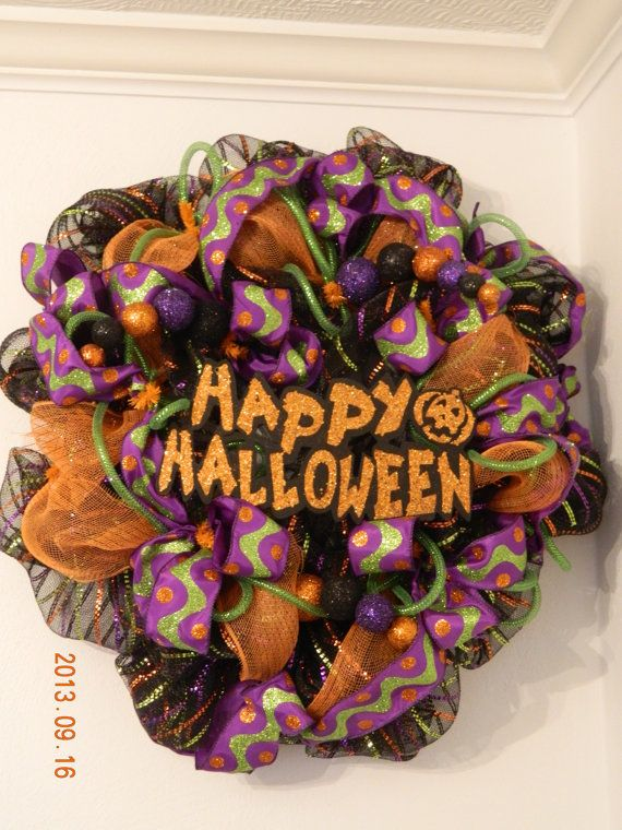 Happy Halloween Wreath with Glitter Colors on Etsy, $65.00