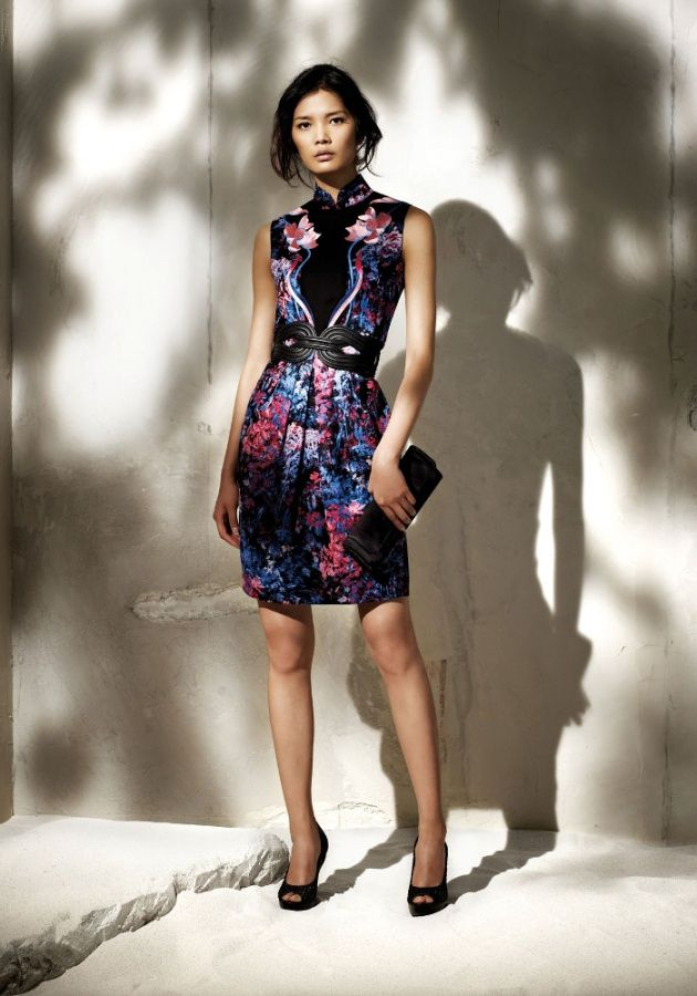 Shanghai Tang: Nature Printed Silk Georgette Qi Pao with embroidery, pretty with the belt and clutch
