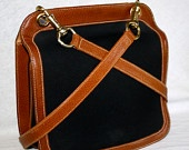 Vintage GUCCI Tote Black Canvas Brown Leather Messenger Bag -AUTHENTIC-
