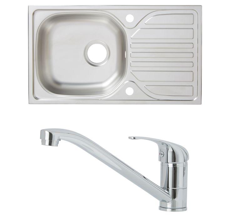 Cooke & Lewis Hewish 1 Bowl Satin Stainless Steel Sink & Tap Pack | Departments | DIY at B&Q