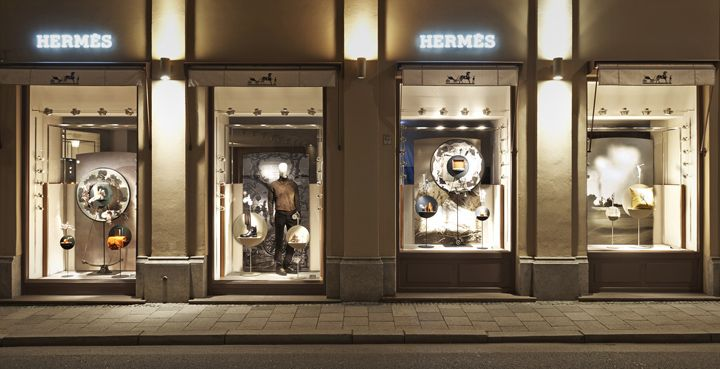 Hermès shop displays by Tim John, Fall 2013, Germany window display