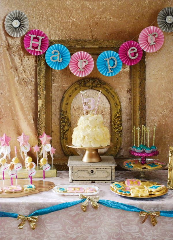All That Glitters Is Gold Golden Third Birthday Party from Audrey of Sweet Cheeks Tasty Treats via Hostess with the Mostess