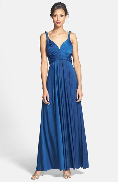 Dessy Collection Convertible Front Twist Jersey Gown available at #Nordstrom  Color - Ginger (similar to Coral?)