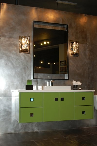 Awesome Metalish Wall In A Bathroom, Digging The Vanity Too ! Modern Cabinet  Hardware By R.