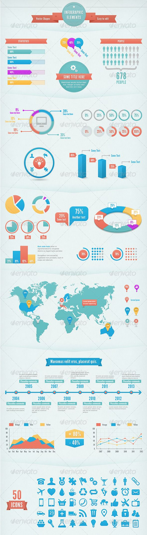 """""""Infographic Elements Kit"""" contains a variety of elements that help you to build your infographic."""