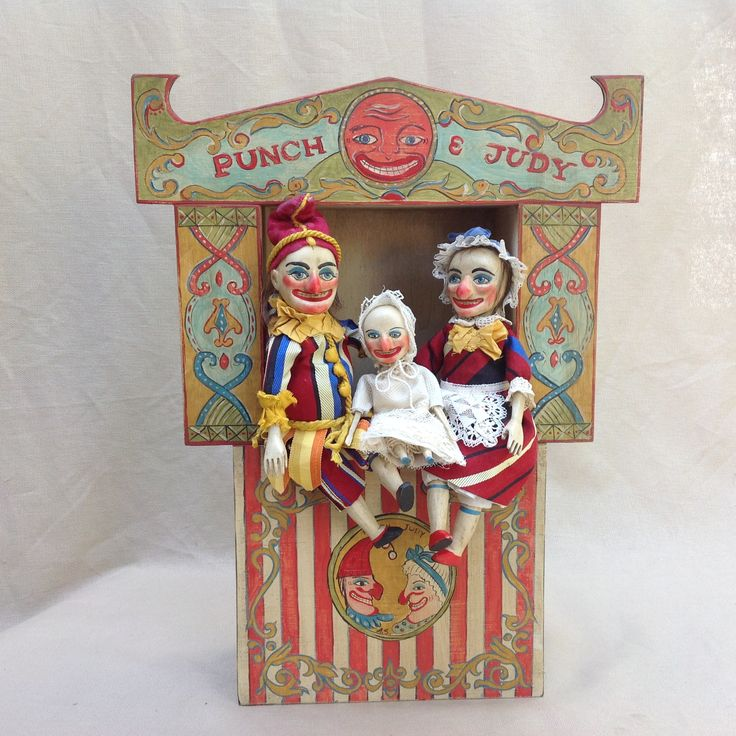 Wood carved dolls , hand painted Punch &Judy  theater