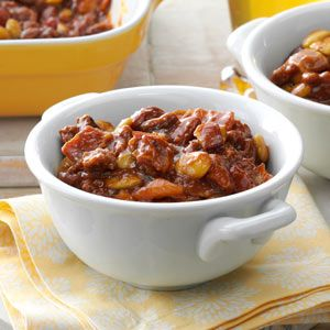 Fourth of July Bean Casserole.  Best side dish ever!  I take this to every potluck and it's always a huge hit.
