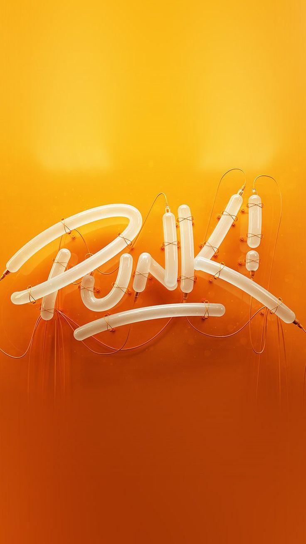 New PUNK NEON SIGN ART MINIMAL ILLUSTRATION ART ORANGE WALLPAPER HD IPHONE 14